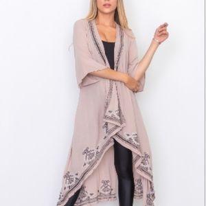 Jackets & Blazers - Soft Taupe Crochet Trim Open Kimono Jacket